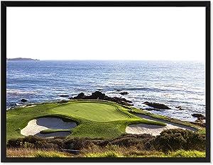 "Spot Color Art Pebble Beach Golf Course Photo Canvas Print Home Decor Wall Art Decoration Gift Ideas Black Frame, 13"" x 17"", GOLFCOURSE-90110B1317"
