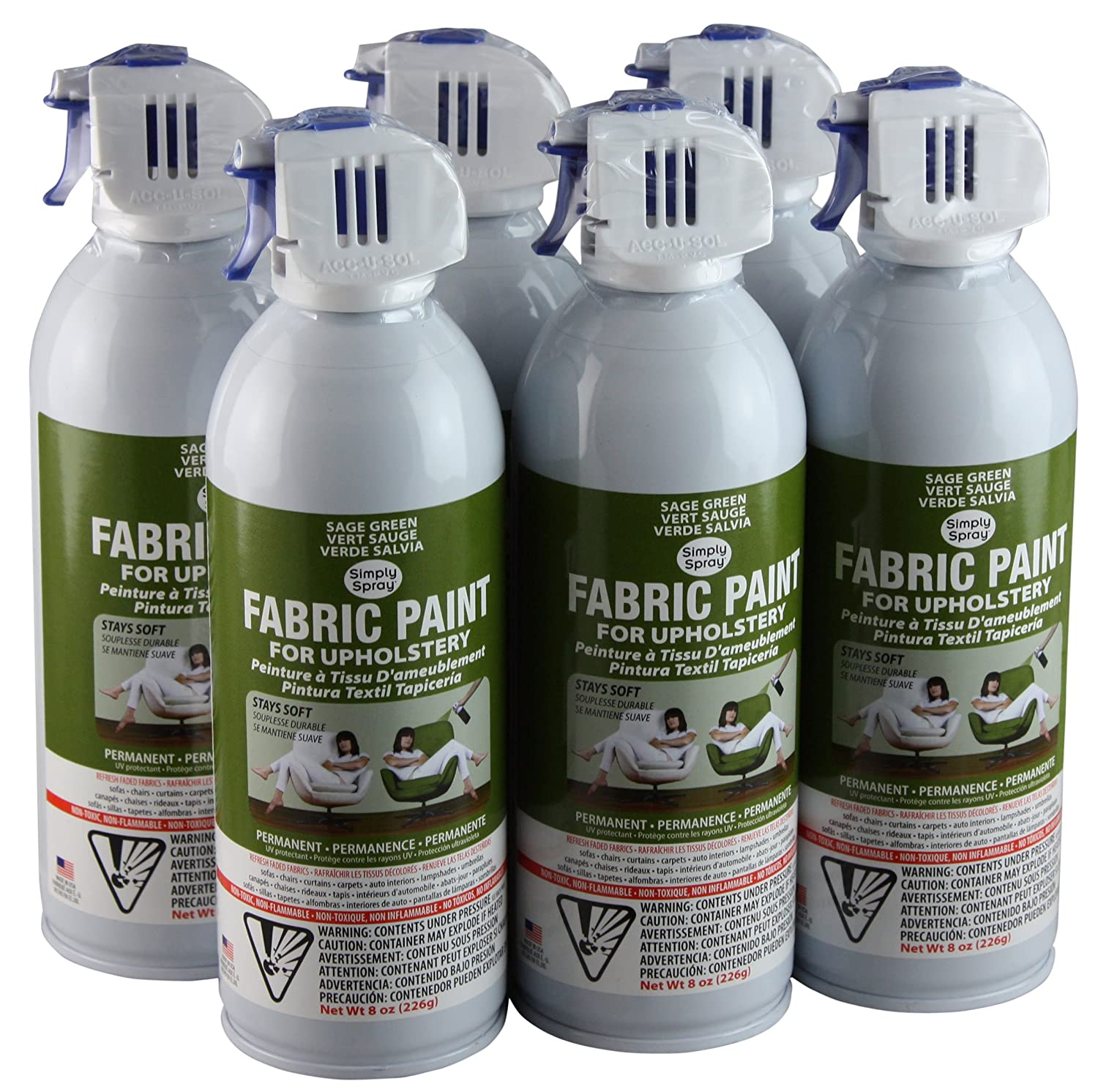 Amazon.com: Simply Spray Upholstery Fabric Spray Paint 8 Oz. Can 6 Pack Sage Green