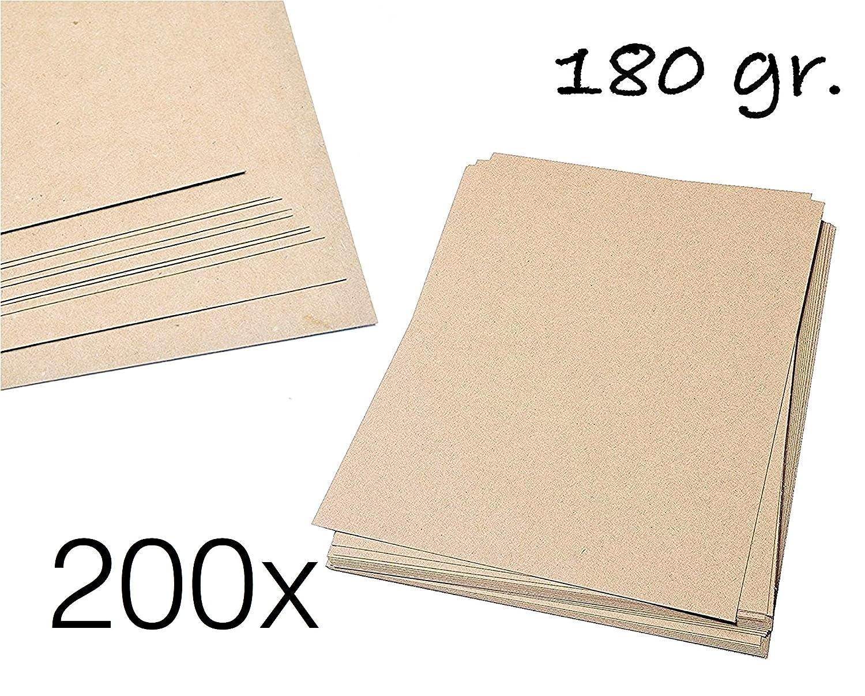 200 x fogli di carta kraft DIN A4 180 grammi/m2 in carta naturale marrone cartone per bricolage cartoncino kraft in cartone per bricolage scrapbooking per carte, buste, regali e molto altro ancora. TK Gruppe Timo Klingler