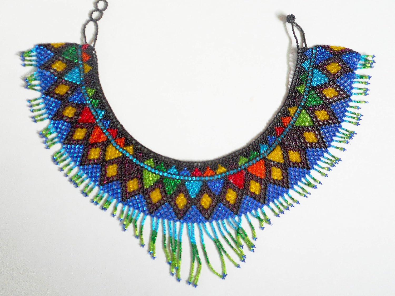 NYSK dream Handmade Native American Multi-Colored Huichol Seed Bead Necklace bib Design