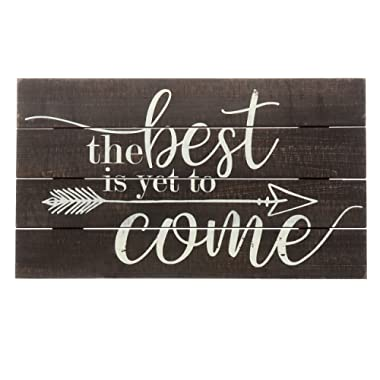 "Barnyard Designs The Best is Yet to Come Rustic Wood Hanging Sign Decorative Wall Decor 17"" x 10"""