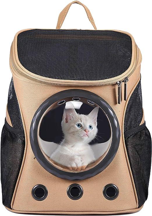 HAPPY HACHI Mochila Gatos Transportin Perros Pequeño Portador Capazo Mascotas Bolsa Perro Transporte Transparente Conveniente para Viaje Caminando Marrón: Amazon.es: Productos para mascotas