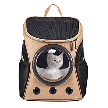 Pet Cat Carriers Puppy Backpack Canvas Space Capsule Dog Bags