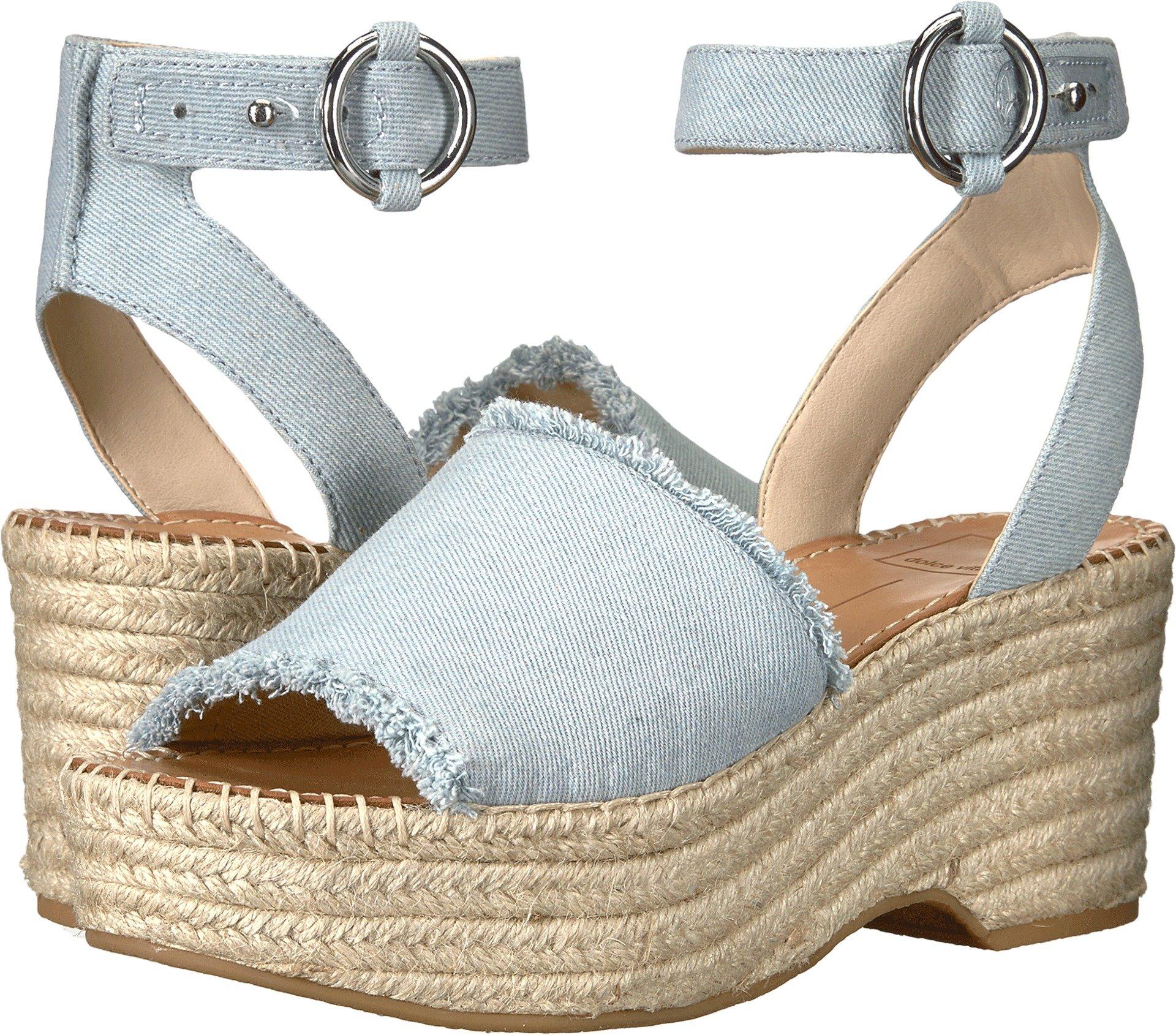 Dolce Vita Women's Lesly Espadrille Wedge Sandal, Light Blue Denim, 7.5 M US