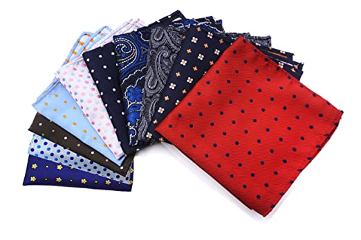 AVANTMEN 10 Pcs Men's Pocket Squares Assorted Woven Handkerchief