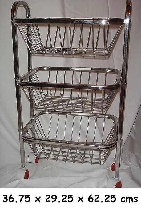 Soporte de almacenamiento de acero inoxidable, carrito con ruedas, cocina, frutas, verduras
