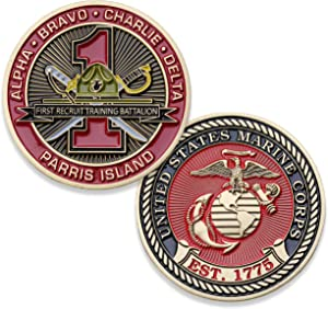 USMC First Recruit Training Battalion Challenge Coin - 1st BN Parris Island - Marine Corps Training Military Coins - Designed by Marines for Marines - Officially Licensed