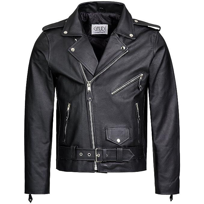 Gaudi-Leathers Chaqueta de Cuero para Hombre Moto o Motocicleta Biker Moto Brando Style