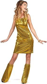 Generique - Disfraz Disco Dorado con Lentejuelas Mujer XL ...
