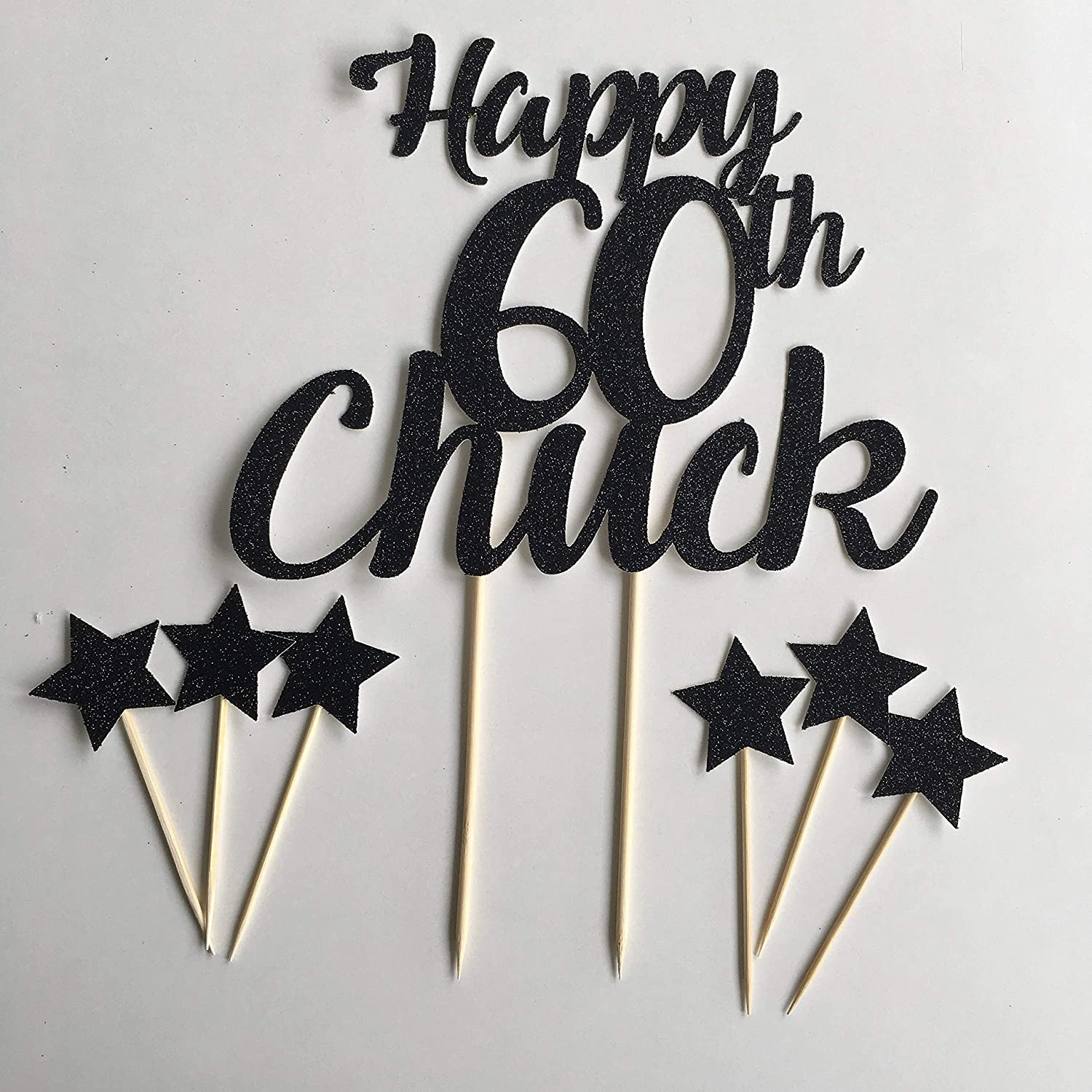 birthday party for him gold Personalised cake topper with star cup cake toppers silver blue glitter cake topper black party set