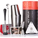Premium Cocktail Shaker Set I Bar tools, 6 Piece Barware Kit - 2 Piece Boston Cocktail Shaker, Japanese Jigger, Bar Spoon, Hawthorne Strainer, Muddler in Brushed Stainless Steel by The Elan Collective