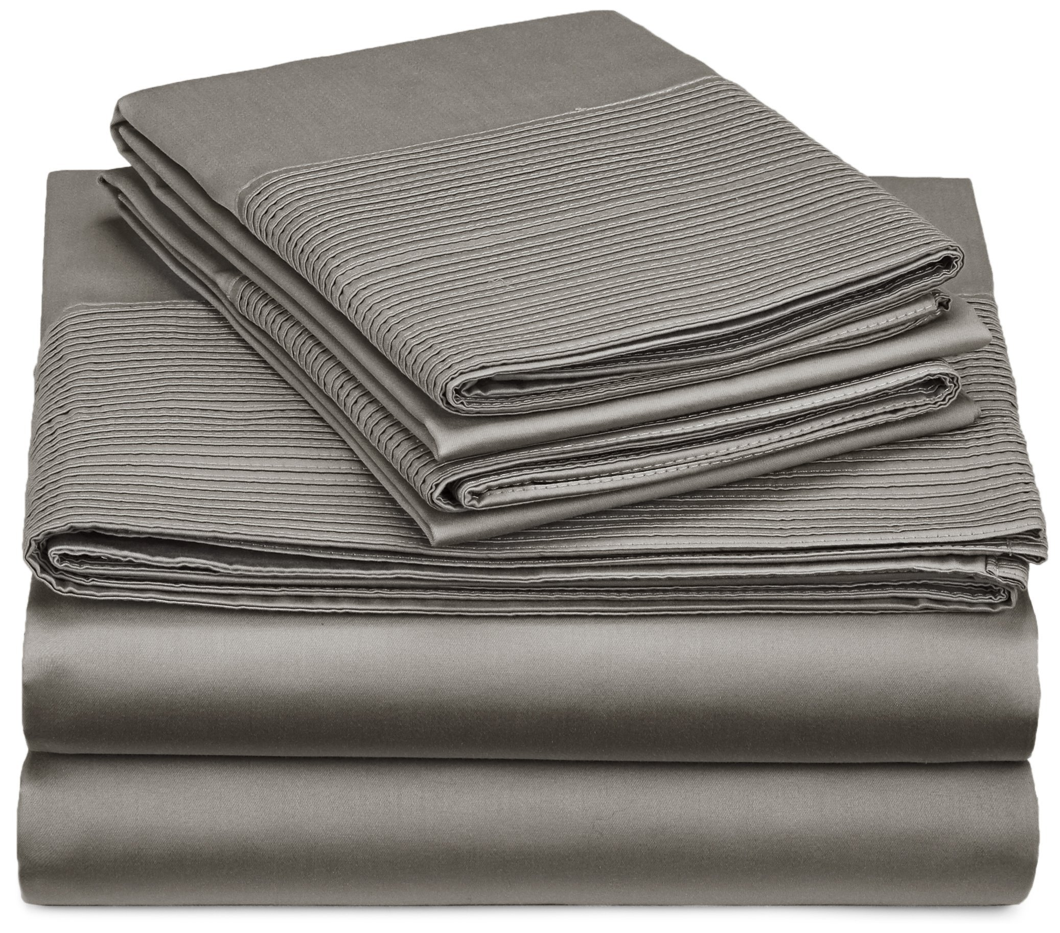 Pinzon 400-Thread-Count Egyptian Cotton Sateen Pleated Hem Sheet Set - Full, Sterling - Full-size set includes flat sheet, fitted sheet, and 2 standard-size pillowcases Sewn with single-ply yarns for a breathable, lightweight fabric Elegant 6-inch pleated hem adorns flat sheet and pillowcases - sheet-sets, bedroom-sheets-comforters, bedroom - 91s%2BCP1kIBL -