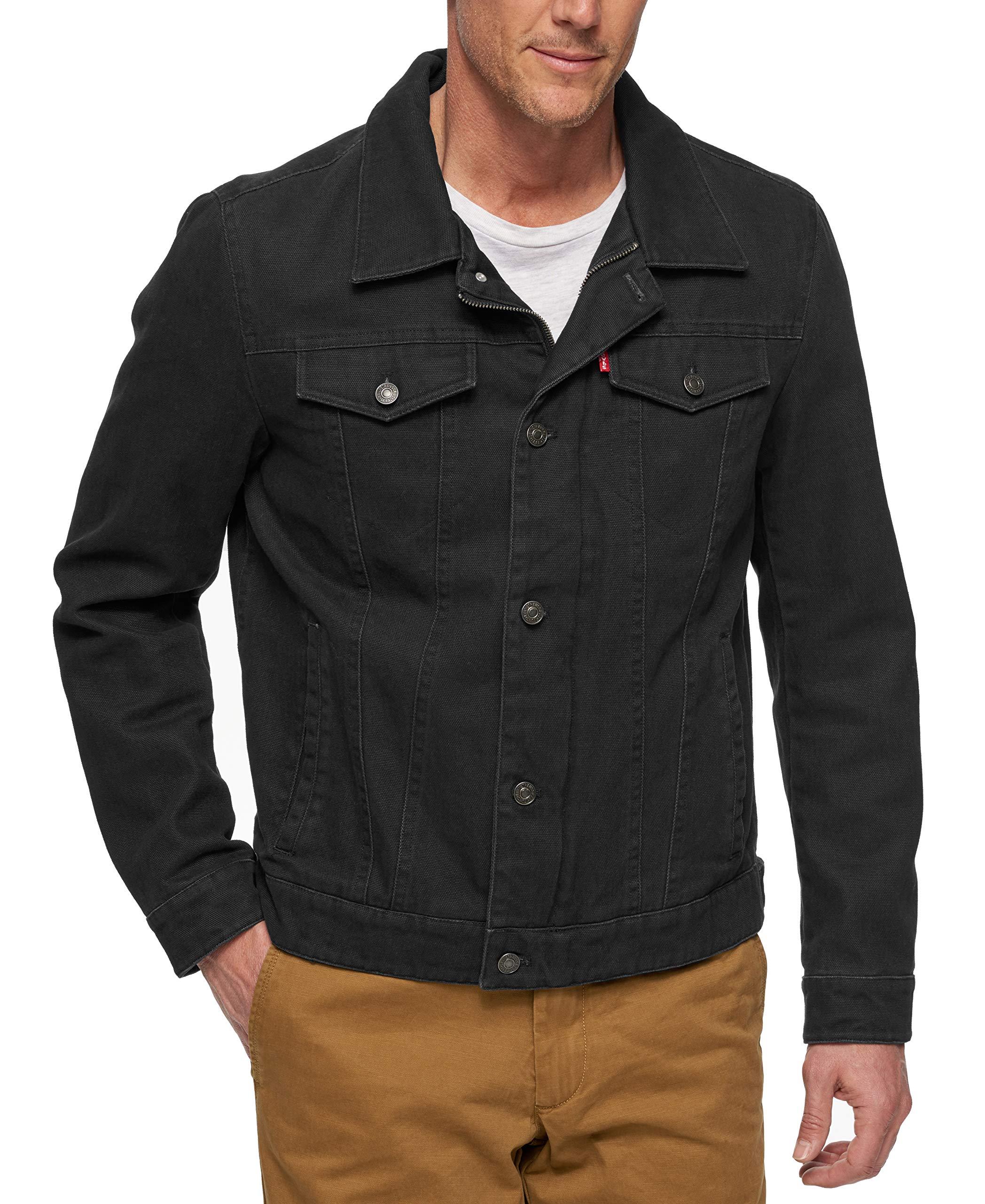 Levi's Men's Cotton Canvas Laydown Trucker Jacket, Black, XX-Large by Levi's