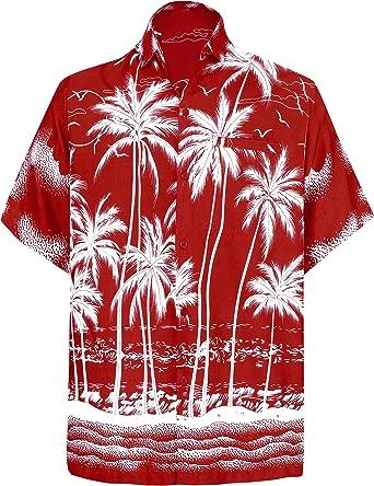 LA LEELA | Funky Camisa Hawaiana | Señores | XS-7XL | Manga Corta | Bolsillo Delantero | impresión De Hawaii | Playa Playa Fiestas, Verano y Vacaciones Blood Rojo_W458 L: Amazon.es: Ropa y accesorios
