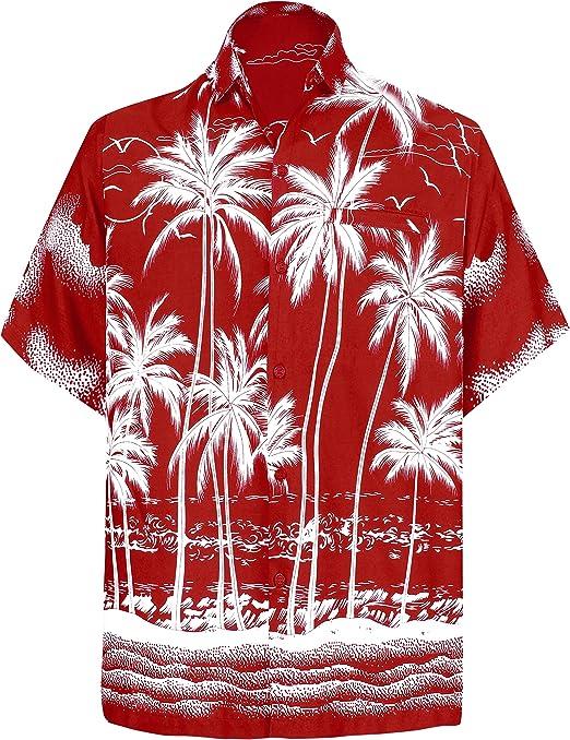 LA LEELA Manche-Courte Hommes Broderie 7XL Manche-Courte Solide Plaine Hawaiian-Imprimer Poche-Avant Plage Palmiers XS