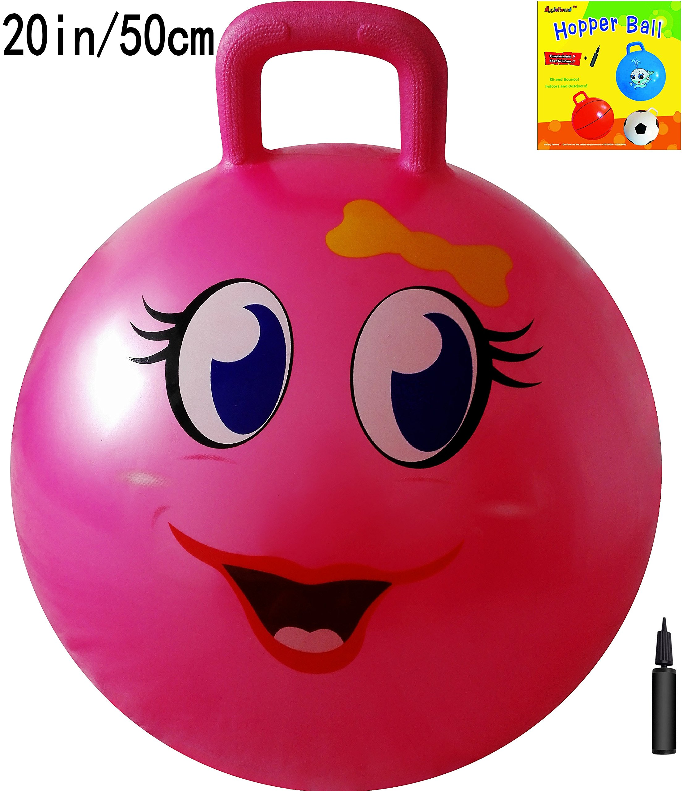 Jumping Ball Bouncing Space Hopper Adult Kids Handle Bouncer Hoppity Hop +  Pump
