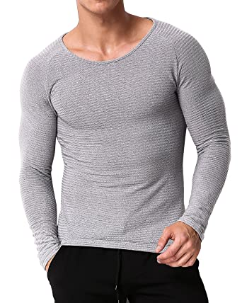 2917c786bb91 MODCHOK Herren Longsleeve Shirt Crew-Neck Langarmshirt T-Shirt Slim Fit  Pullover  Amazon.de  Bekleidung