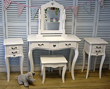 White Dressing Table Set With Vanity Mirror On Stand With Matching Stool  And Two Bedside Tables