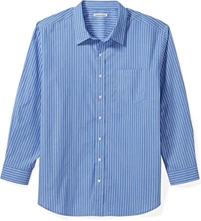 Amazon Essentials Men's Big & Tall Long-Sleeve Stripe Casual Poplin Shirt fit by DXL