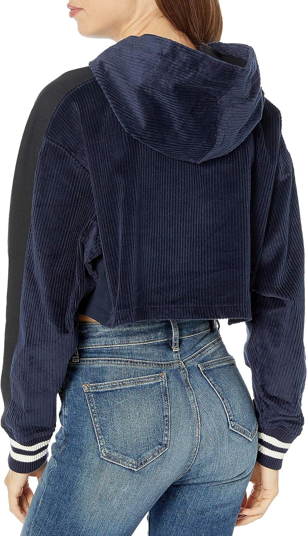 Champion Damen Corduroy Cropped Po Hood W/Reverse Weave Kapuzenpulli Navy