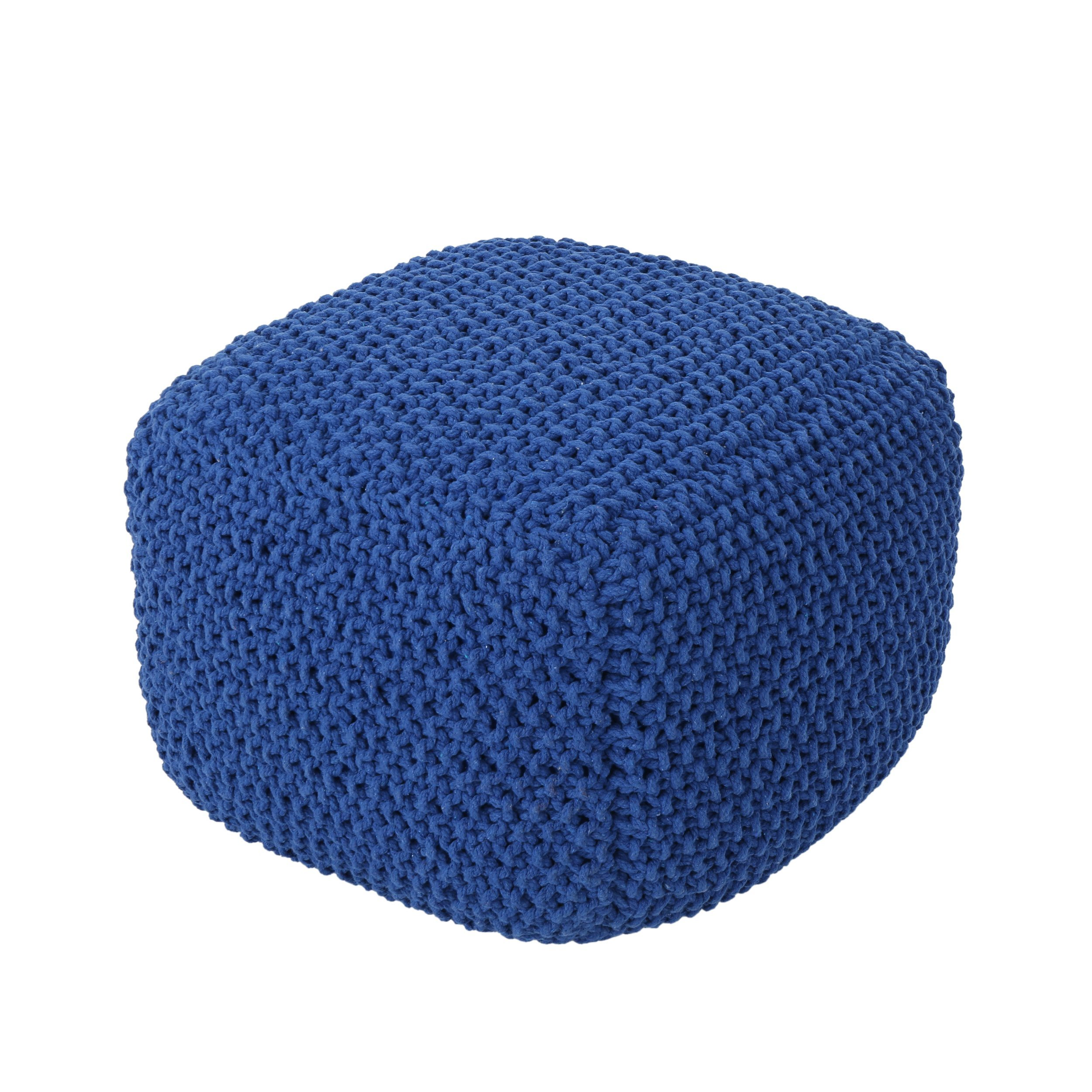 Knox Knitted Cotton Pouf, Navy