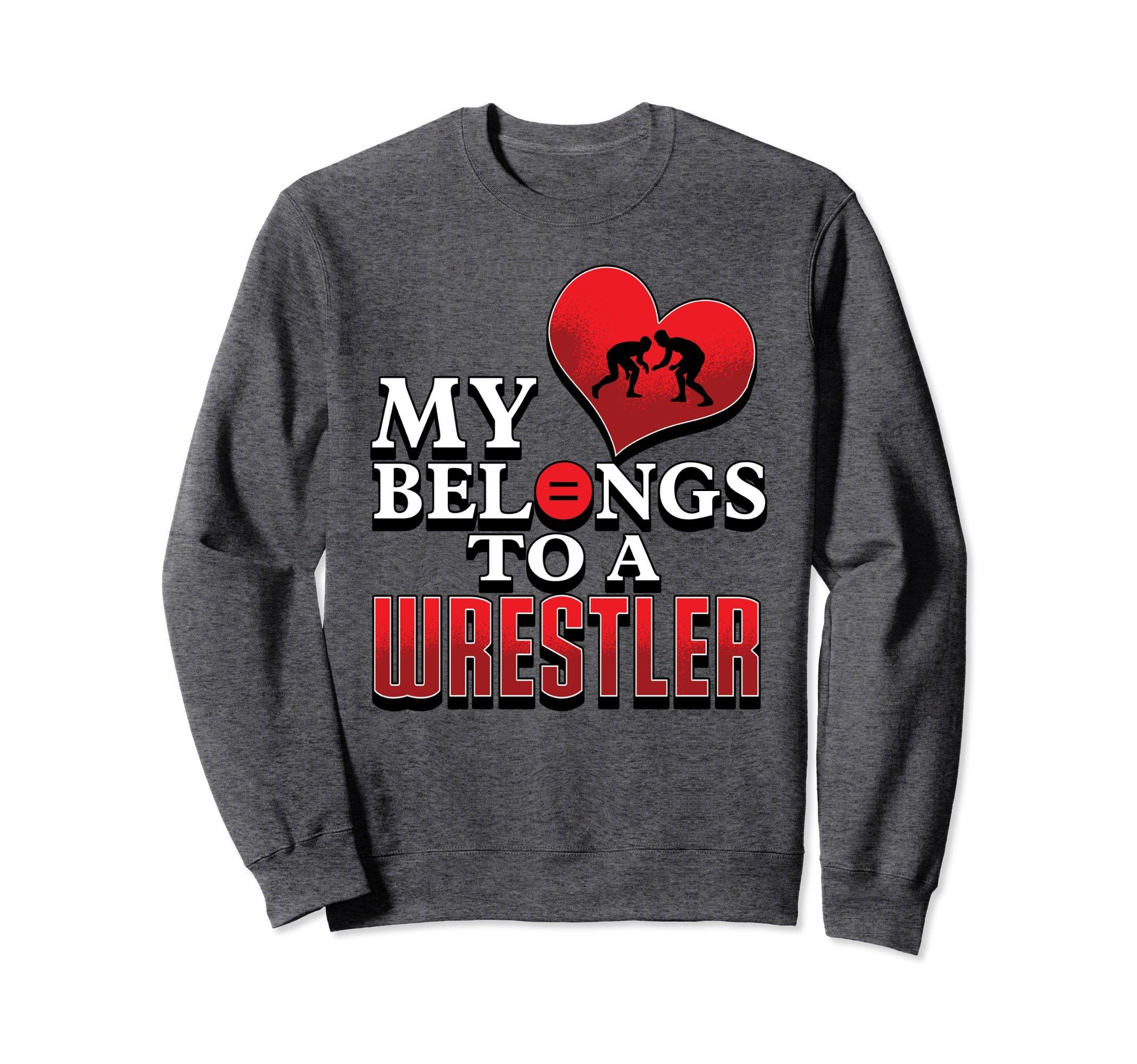 Unisex Wrestling Sweatshirt- My Heart Belongs to a Wrestler Sweater XL: Dark Heather by Wrestling Shirt by Crush Retro