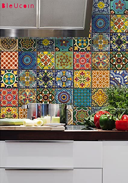 Bleucoin Mexican Talavera Tile Sticker For Kitchen And Bathroom Backsplash  Tiles, Stair Riser Peel U0026