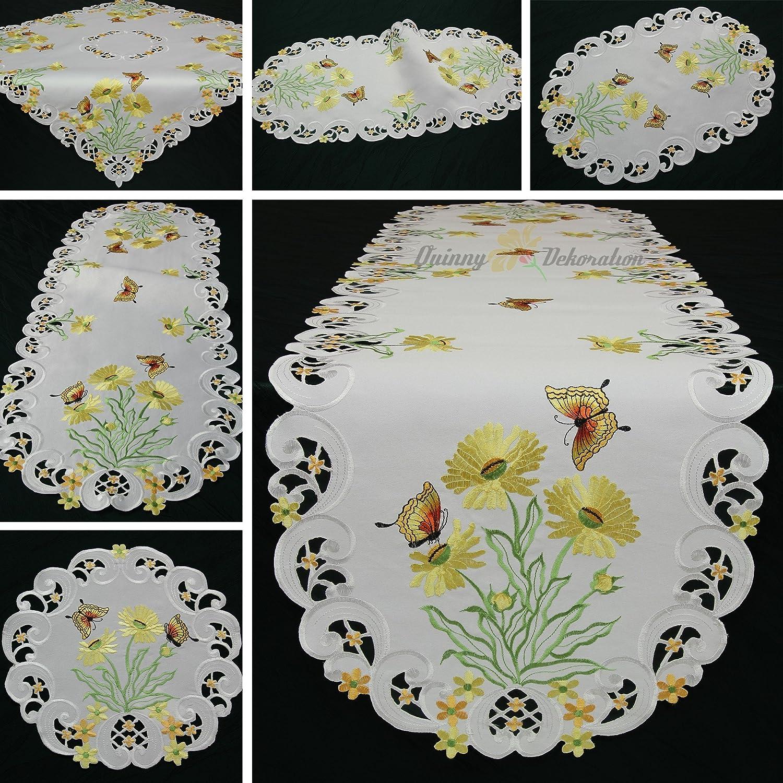 Farfalla Runner/Tovaglia bianca con lasciare margherite ricamo–Misura a Scelta, Poliestere, 85 cm x 85 cm Quinnyshop