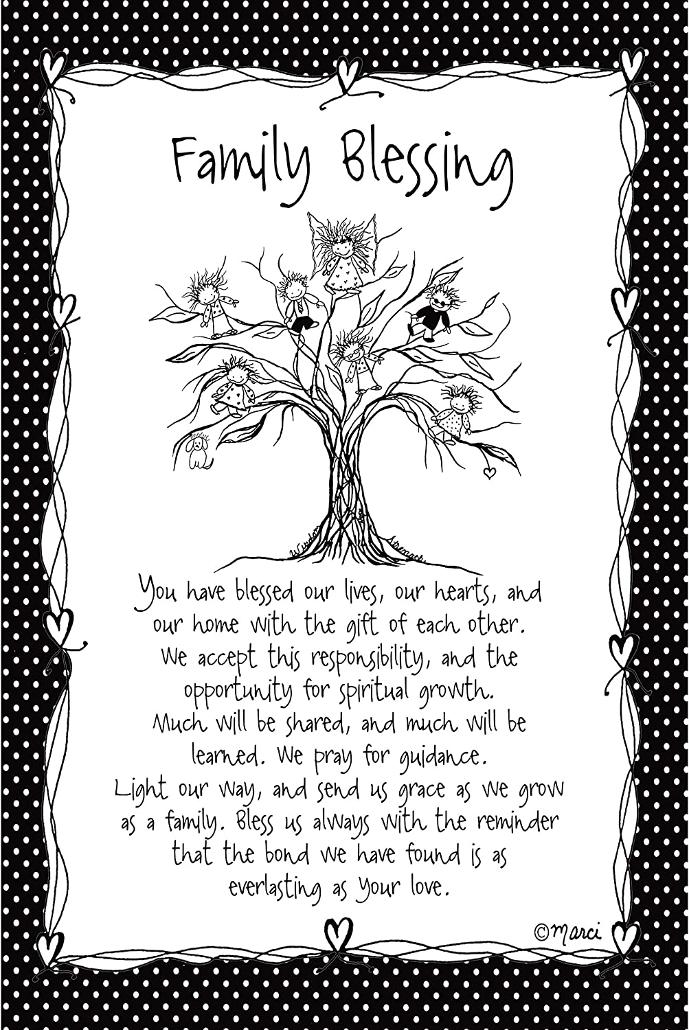 Family Blessing Wood Plaque - Children of The Inner Light by Marci | Elegant Vertical Frame Wall Art & Tabletop Decoration | Easel & Hanging Hook | Measures 6 inches x 9 inches