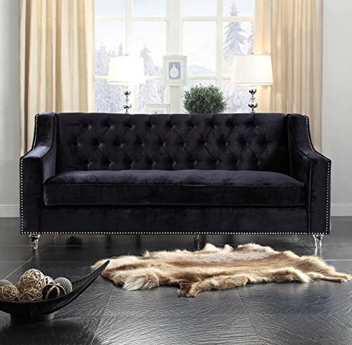 Iconic Home Black Dylan Velvet with Silver Nail head Trim Round Acrylic Feet Sofa