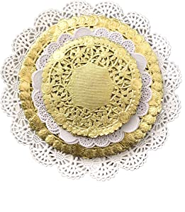 Variety Pack Gold and White Paper Lace Doilies 4 5 6 and 8 inches - Assorted Sizes (Pack of 120 – 30 of Each Size)