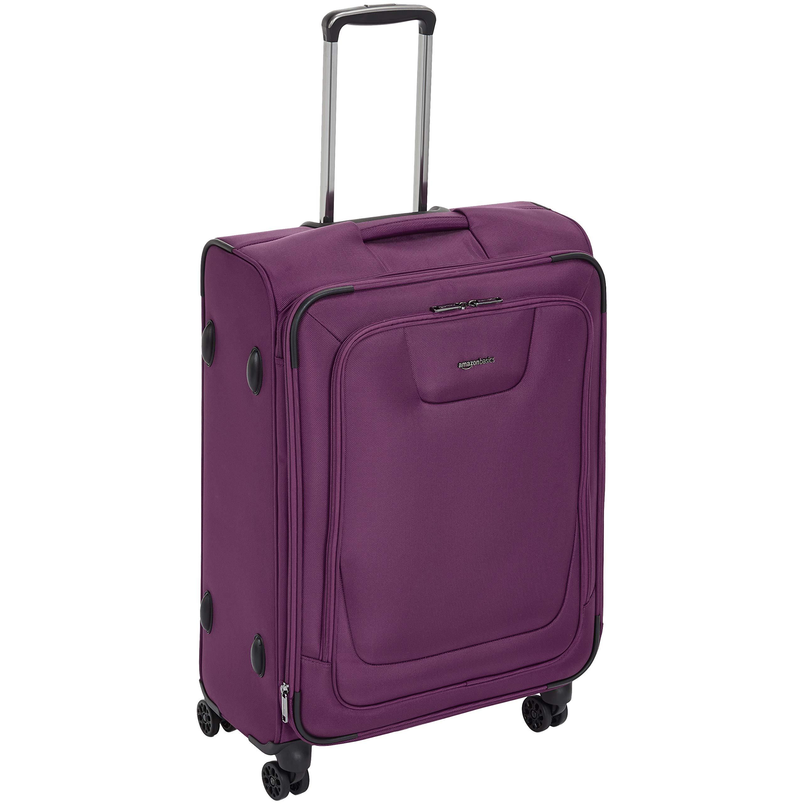 AmazonBasics Premium Expandable Softside Spinner Luggage With TSA Lock- 25 Inch, Purple