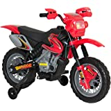 Best Choice Products Kids 6V Electric Ride On Motorcycle Dirt Bike W/ Training Wheels- Red