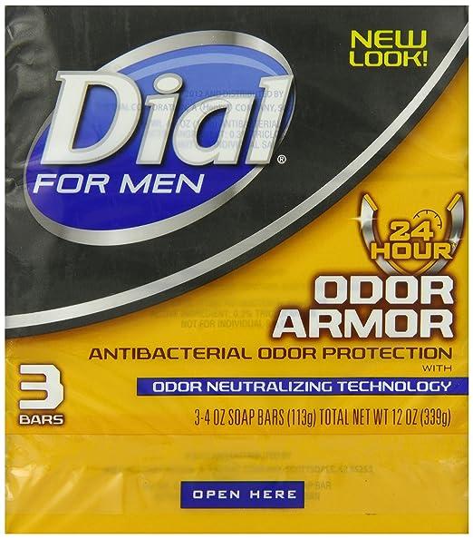 Dial for Men Odor Armor Antibacterial Soap, 3 Count, 4 oz Bars