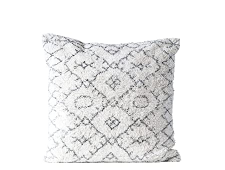 Creative Co-Op Black & White Square Cotton Tufted Pillow, Black