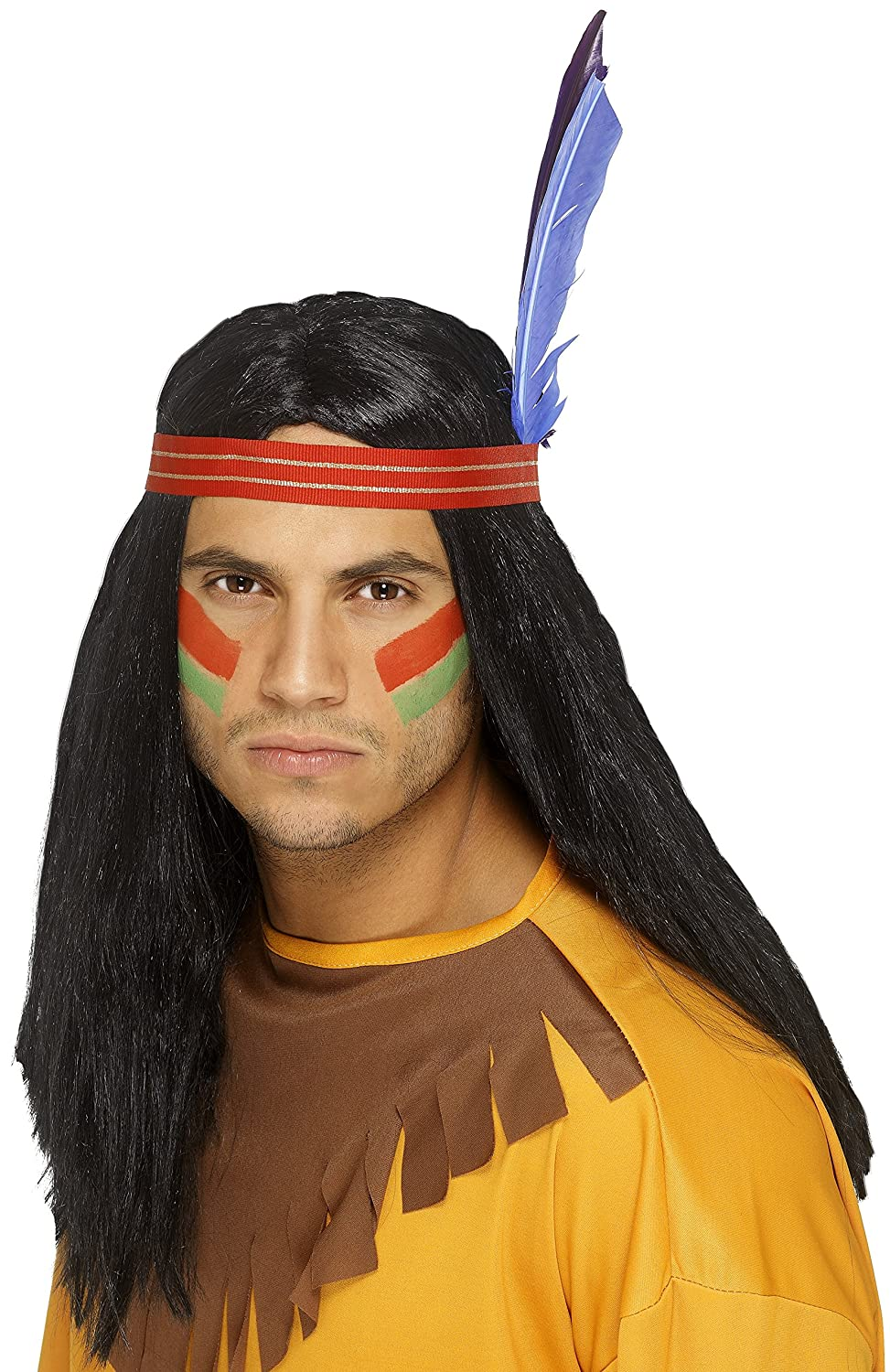 Smiffy's Men's Indian Brave Wig Long Straight with Headband and Feather