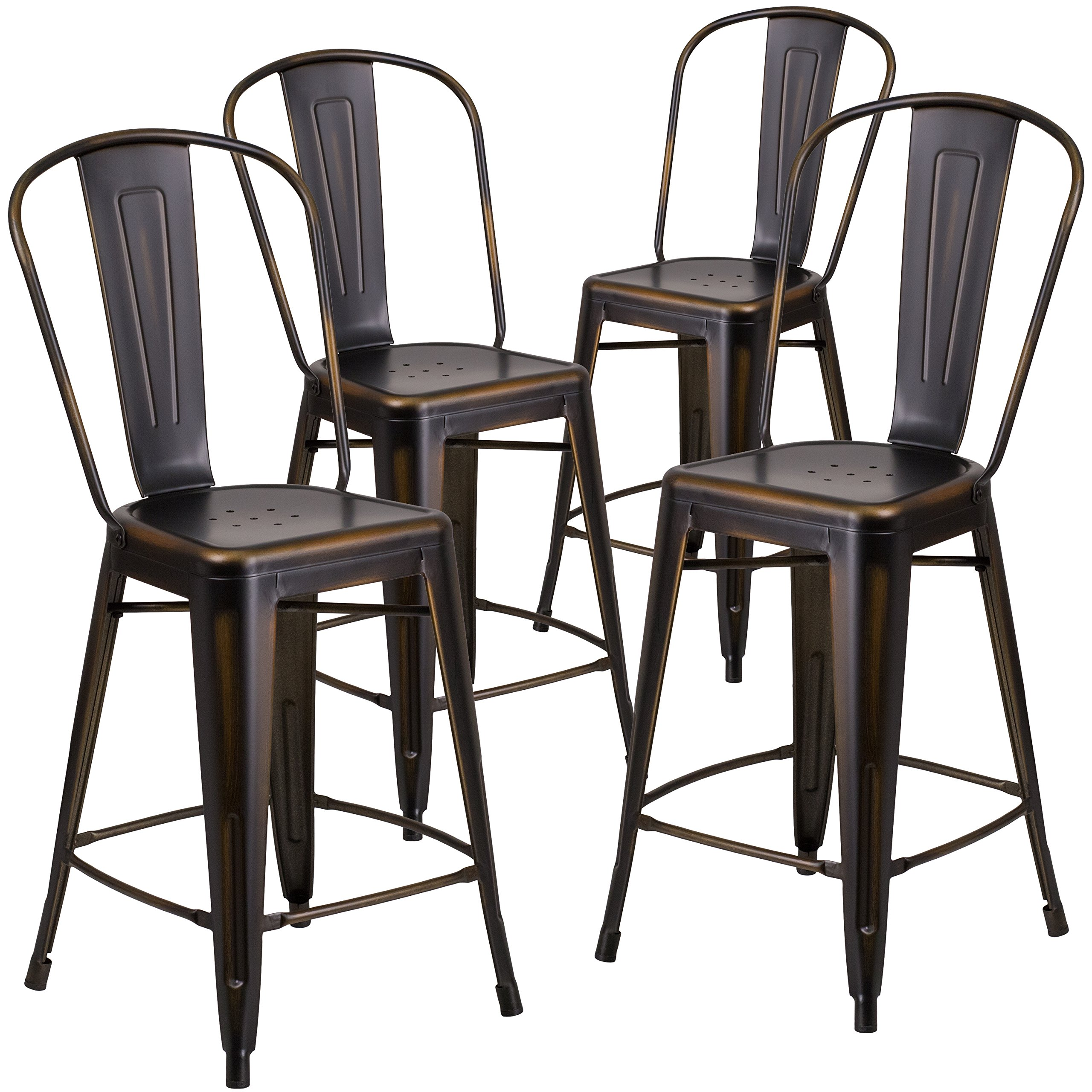 Flash Furniture 4 Pk. 24'' High Distressed Copper Metal Indoor-Outdoor Counter Height Stool with Back