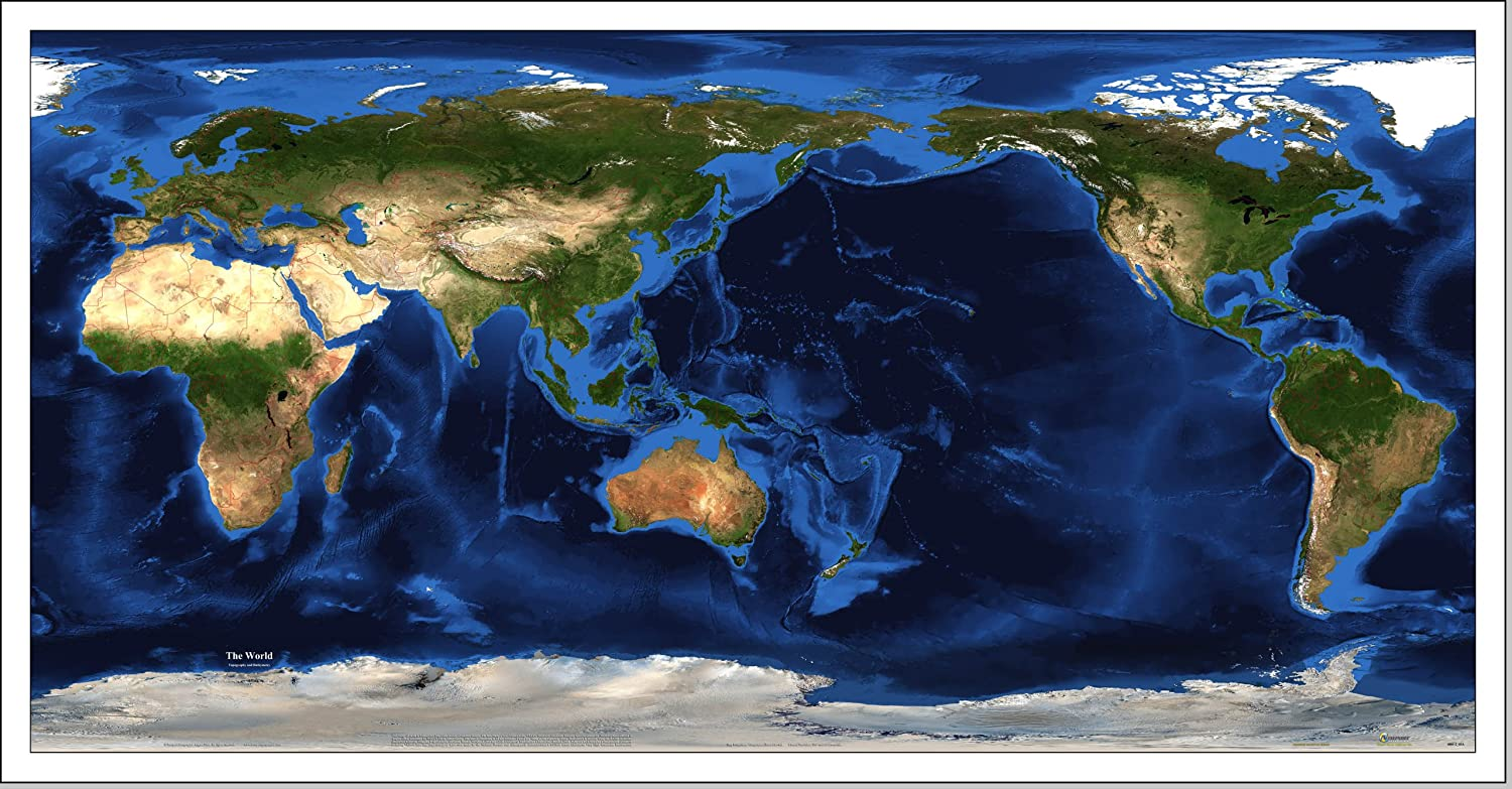 Amazon.com: World Satellite Map - Geographic Projection - Pacific ...