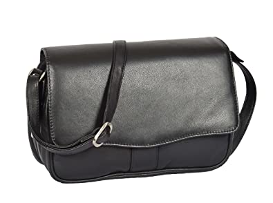 Ladies Classic Organiser Shoulder Cross Body Messenger Bag Satchel Matilda  Black 37452a84c9b32