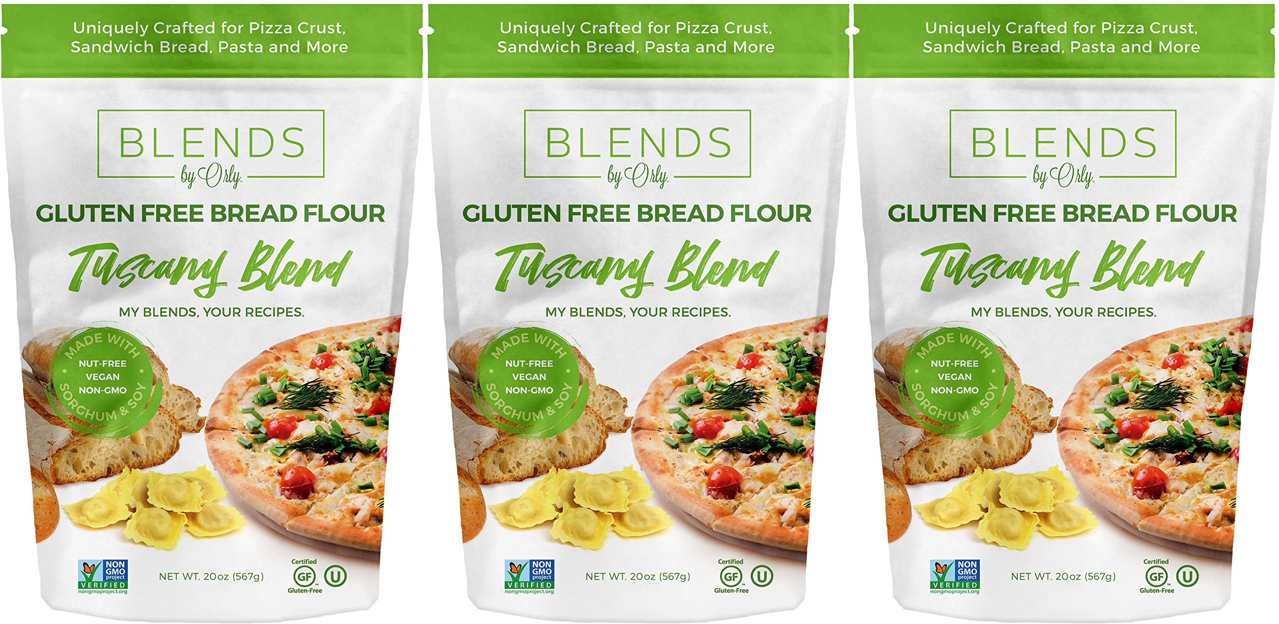 Premium Gluten Free Bread Flour - Baking Flour for Gluten Free Bread, Gluten Free Pizza Crust, Gluten Free Burger Buns, Gluten Free Pasta & GF Focaccia from Tuscany Blends by Orly 60 OZ (Pack of 3) by Blends By Orly