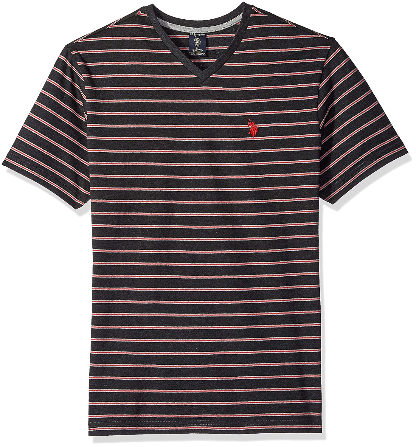 Mens Short Sleeve Striped V-Neck Classic Fit T-Shirt Polo Assn U.S