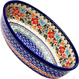 Polish Pottery Ceramika Boleslawiec Oval Mirek Baker 2, 9-2/3-Inch by 6-7/10-Inch, 5 Cups, Royal Blue Patterns with Red…