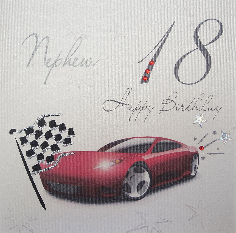 "white cotton cards WBA18C N ""Racing Car Nephew 18 Happy Birthday"