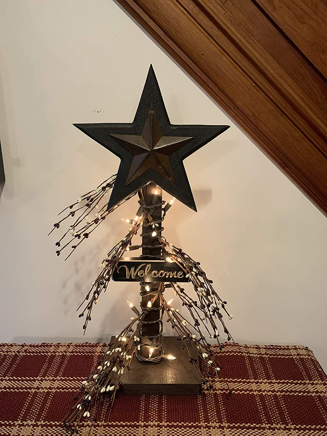 Wood Star Lighted Pip Berries Table Top Home Decor Primitive Farmhouse Lighting Country White Lights Rustic Home Furniture Burgundy and Cream Pip Berries Metal Star