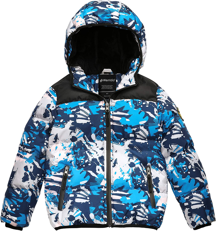 Wantdo Boy's Waterproof Winter Coat Thick Padded Puffer Jacket with Hood