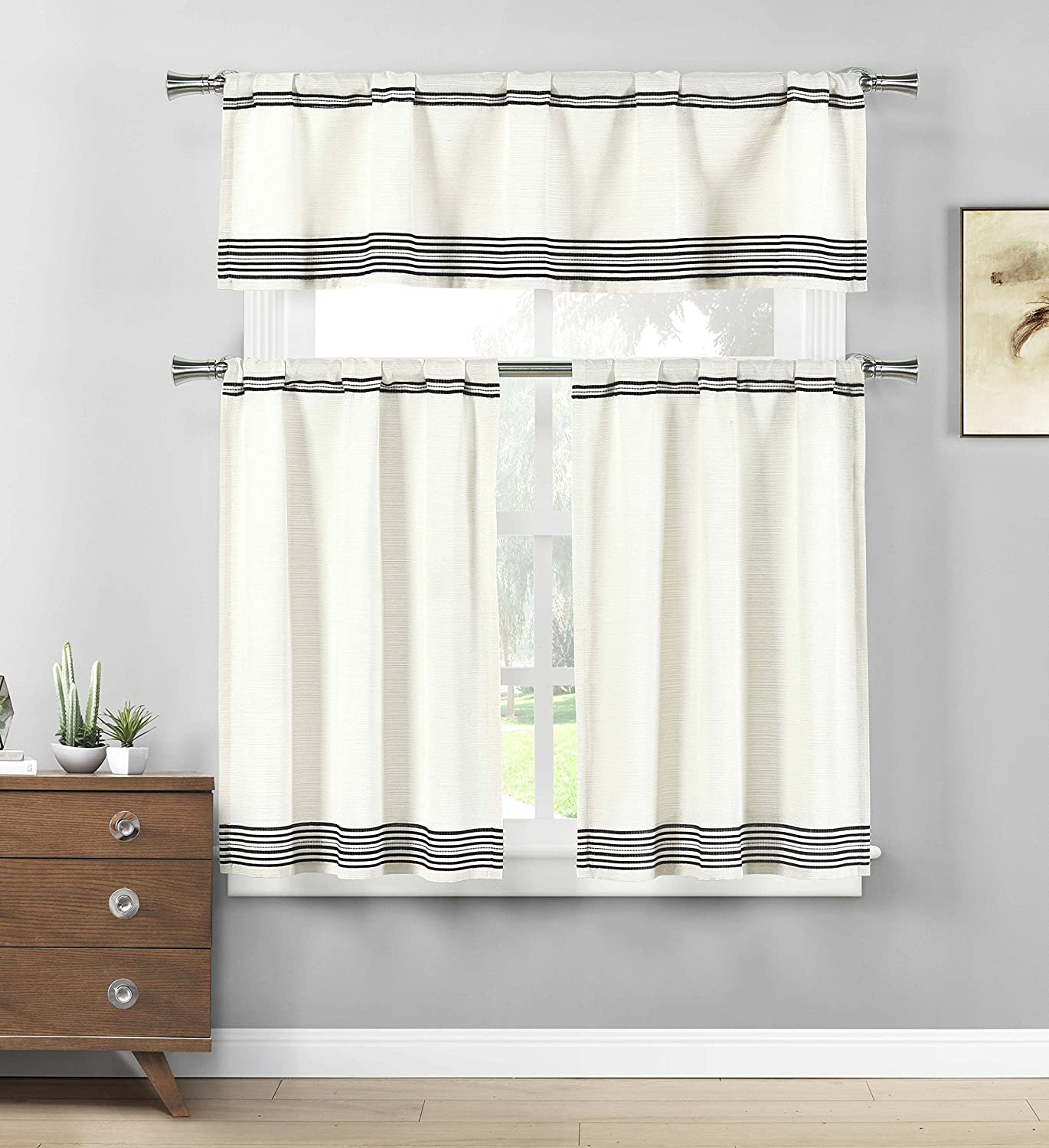 Home Maison- Wilmont Striped Cotton Blend Textured Kitchen Tier & Valance Set | Small Window Curtain for Cafe, Bath, Laundry, Bedroom - (Black)