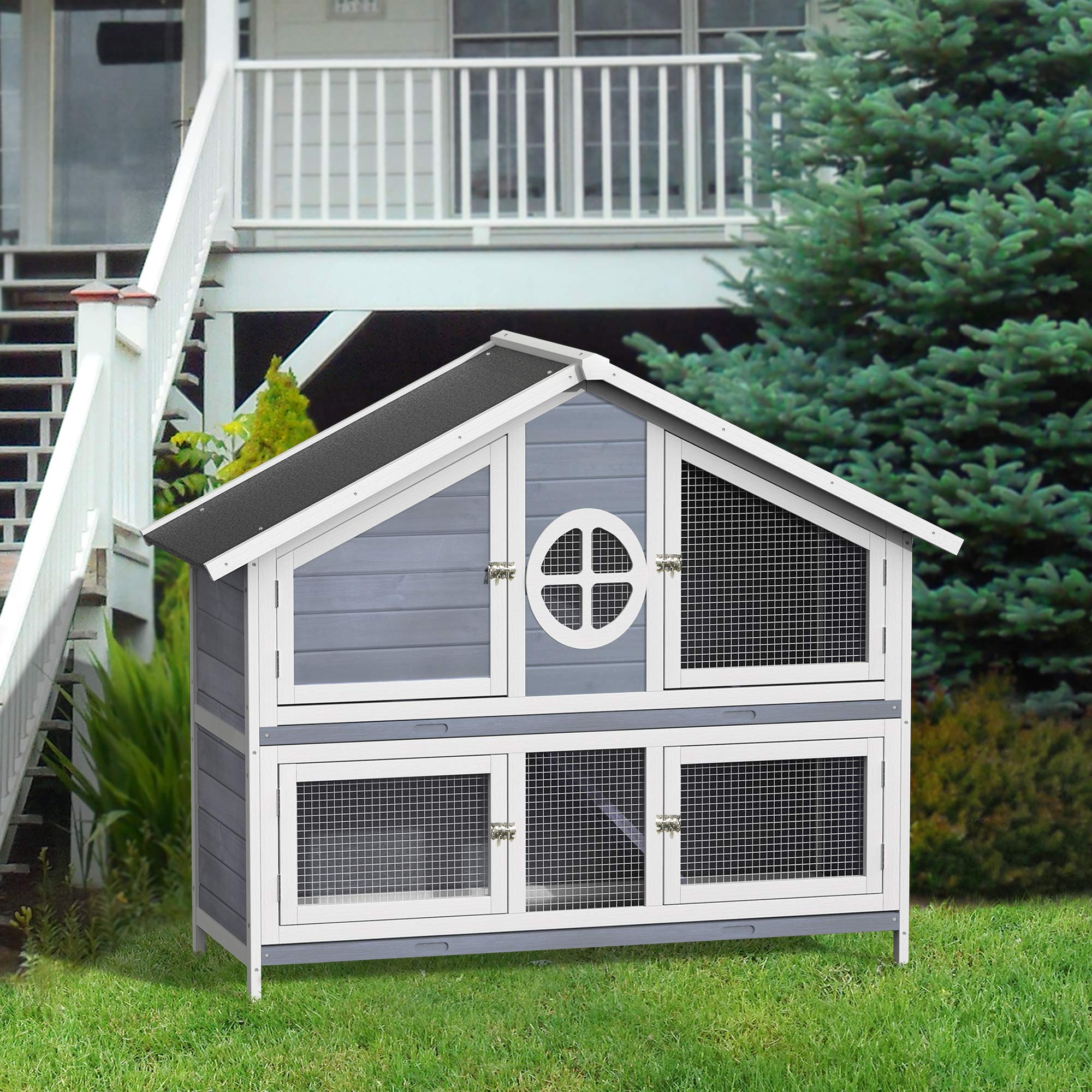 LZ LEISURE ZONE 50.2'' Rabbit Hutch Pet Bunny Cage Wood Small Animals House for Outdoor/Indoor Use (Grey+White) by LZ LEISURE ZONE