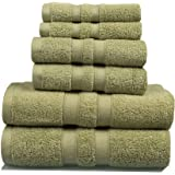Feather Touch 6 Piece Towel Set (Sage); 2 Bath Towels, 2 Hand Towels and 2 Washcloths - Cotton - Machine Washable, Hotel Quality, Super Soft and Highly Absorbent