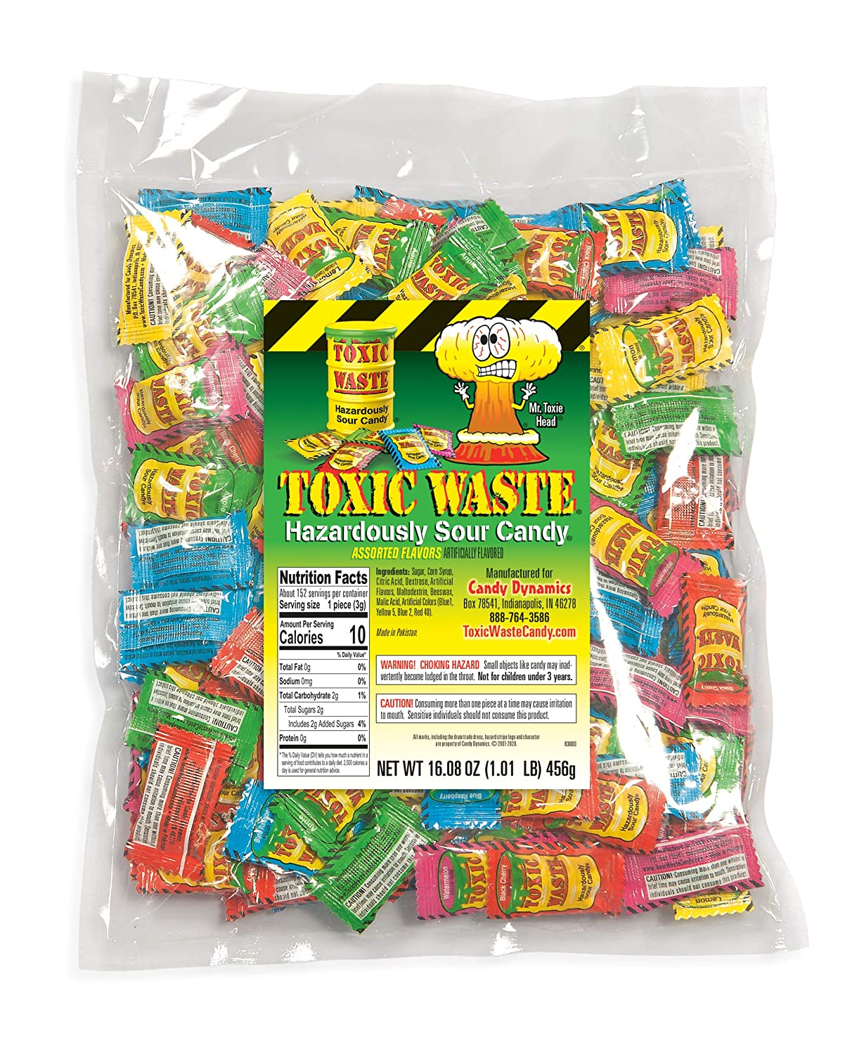 Toxic Waste - Hazardously Sour Candy, 5 Assorted Flavors ~ 1 pound bag : Sour Flavored Candies : Grocery & Gourmet Food