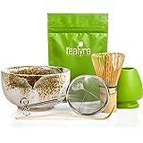 Tealyra - Matcha Tea Ceremony Start Up Kit - Complete Matcha Green Tea Gift Set - Premium Matcha Powder - Japanese Made Beige Bowl - Bamboo Whisk and Scoop - Holder - Sifter - Gift Box